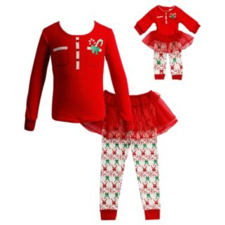 Girls 4-14 Dollie & Me Candy Cane Tutu Pajama Set