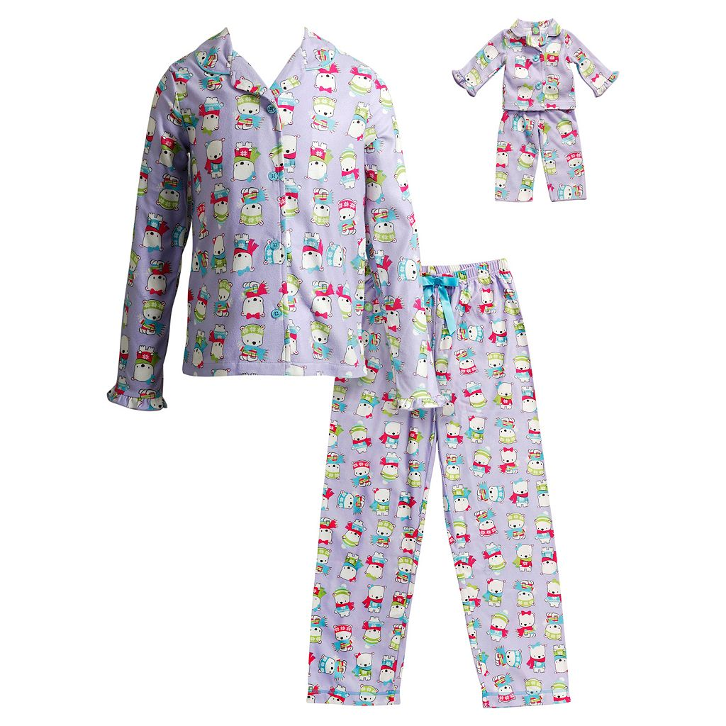 Girls 4-14 Dollie & Me Polar Bear Pajama Set