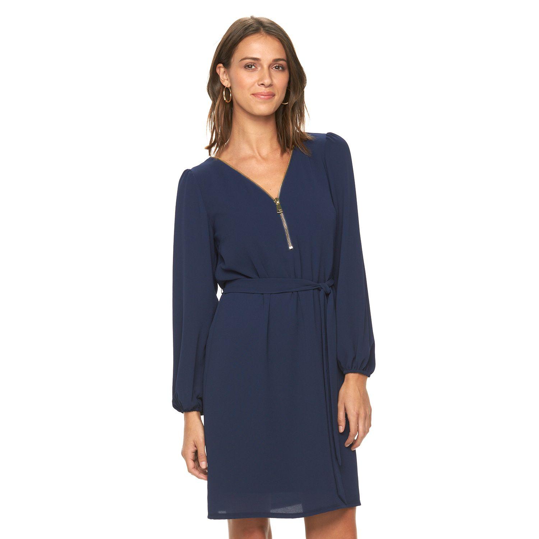 Womens MSK Zipper-Accent Crepe Shift Dress