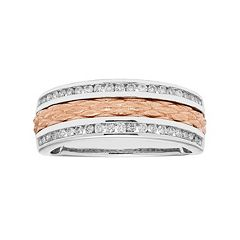 Two Tone 14k Gold 1/3 Carat T.W. Diamond Textured Wedding Ring