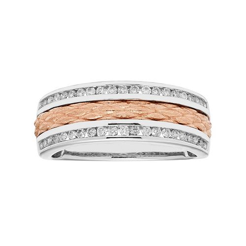 Two Tone 14k Gold 1/3 Carat T.W. Diamond Textured Wedding Ring