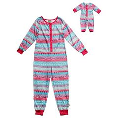 Girls 4-14 Dollie & Me Fairisle One-Piece Pajama Set