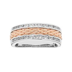 Men's Two Tone 14k Gold 1/3 Carat T.W. Diamond Textured Wedding Band