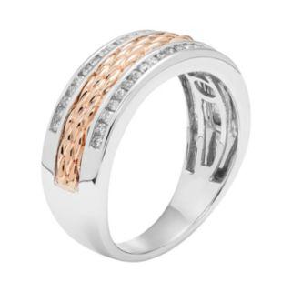 Men's Two Tone 14k Gold 1/3 Carat T.W. Diamond Textured Wedding Band