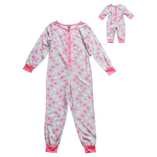 Girls 4-14 Dollie & Me Heart One-Piece Pajama Set