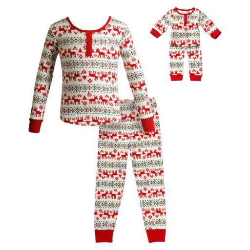 Girls 4-14 Dollie & Me Reindeer Fairisle Pajama Set