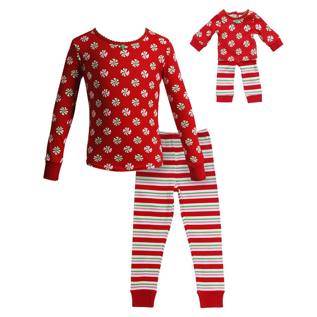 Girls 4-14 Dollie & Me Holiday Swirls & Stripes Pajama Set