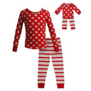 Girls 4-14 Dollie & Me Holiday Swirls & Stripes Pajama Set