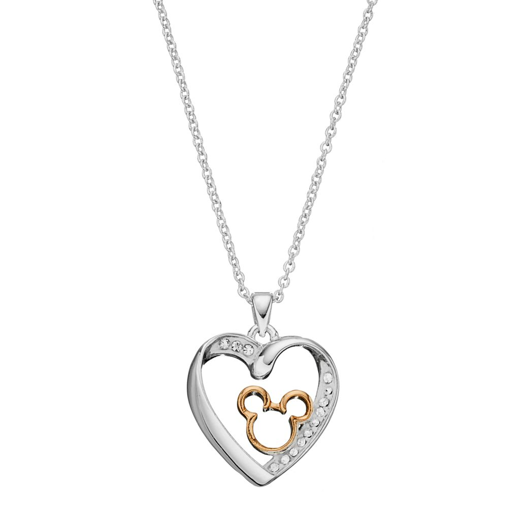 Disney Two Tone Silver Plated Crystal Mickey Mouse Heart Pendant Necklace