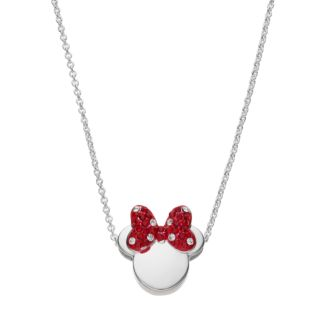 Disney Silver Plated Crystal Minnie Mouse Pendant Necklace