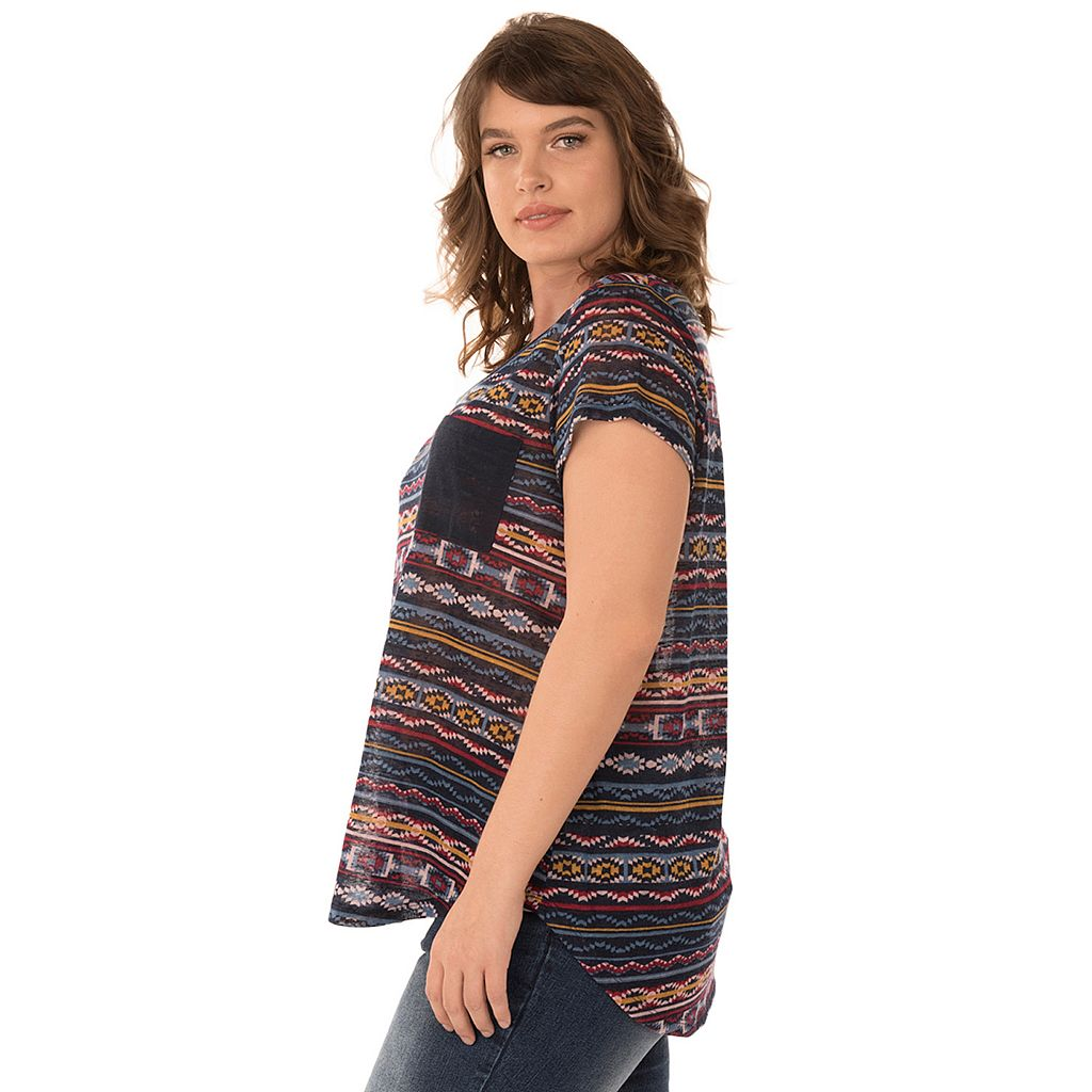 Juniors' Plus Size Wallflower Contrast Pocket Hatchi Graphic Tee