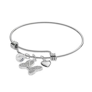 Disney's Minnie Mouse Crystal Bow & Heart Charm Bangle Bracelet