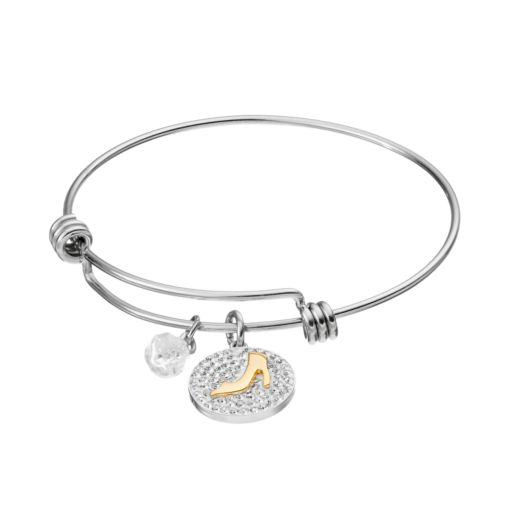 "Disney's Cinderella Two Tone ""If The Slipper Fits"" Disc Charm Bangle Bracelet"
