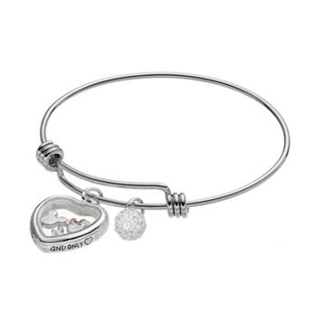 Disney's Mickey & Minnie Mouse Crystal Floating Charm Bangle Bracelet