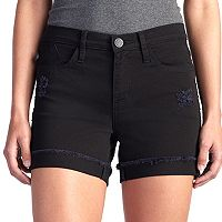 Women's Rock & Republic® Bumpershoot Frayed Black Shorts