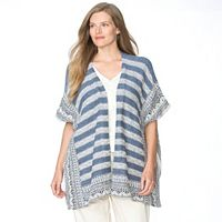 Plus Size Chaps Striped Poncho Cardigan