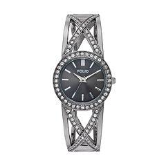 Folio Women's Crystal Crisscross Cuff Watch