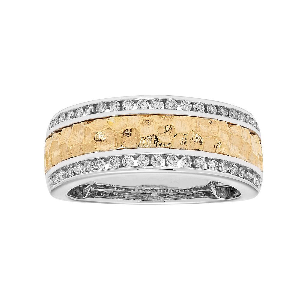 Two Tone 14k Gold 1/3 Carat T.W. Diamond Hammered Wedding Ring