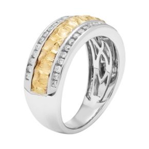 Two Tone 14k Gold 1/3 Carat T.W. Diamond Hammered Wedding Ring