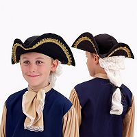Kids Colonial Tricorn Costume Hat with Attached Ponytail Wig