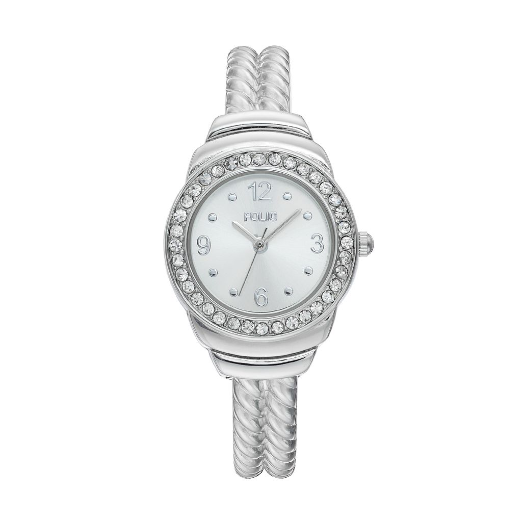 Folio Women's Crystal Twisted Cuff Watch