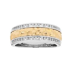 Men's Two Tone 14k Gold 1/3 Carat T.W. Diamond Hammered Wedding Band