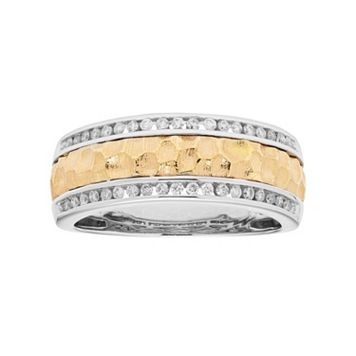 Men's Two Tone 14k Gold 1/3 Carat T.W. Diamond Hammered Wedding Band