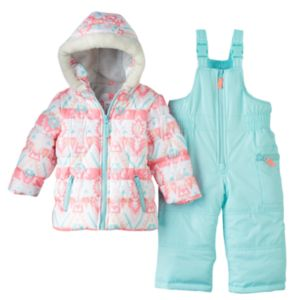 Baby Girl Carter's Print Puffer Jacket & Snow Pants Set