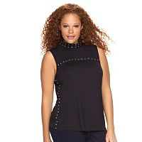 Plus Size Rock & Republic® Grommet Mockneck Tee