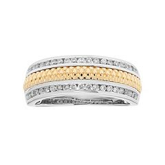 Two Tone 14k Gold 1/3 Carat T.W. Diamond Wedding Ring
