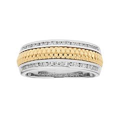 Men's Two Tone 14k Gold 1/3 Carat T.W. Diamond Wedding Band