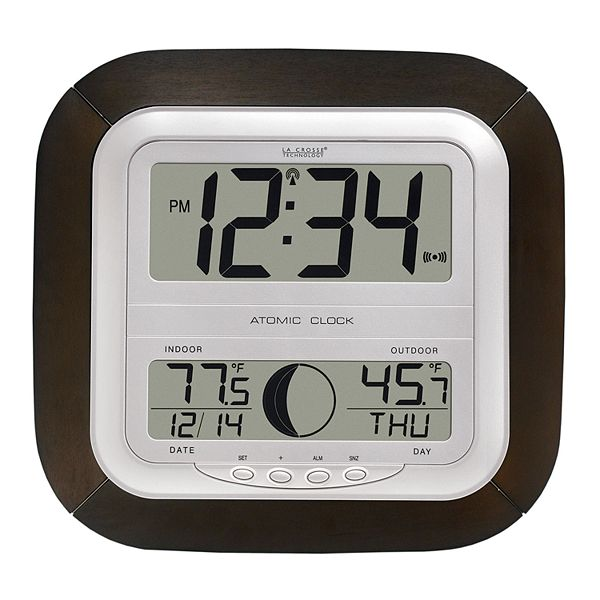 Digital Atomic Wall Clock, Atomic Wall Clock With Indoor Outdoor Temperature And Humidity