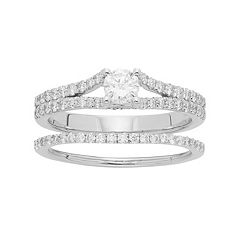 14k Gold 1 Carat T.W. IGL Certified Diamond Engagement Ring Set
