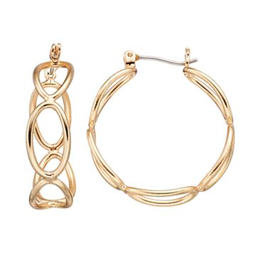 Openwork Oval Hoop Earrings