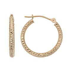 New York Gold Designs 10k Gold Hoop Earrings