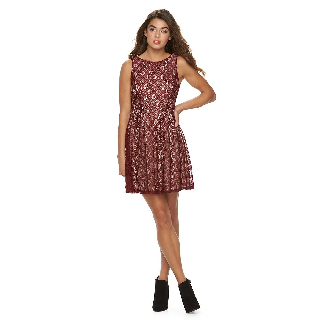 Juniors' Speechless V-Back Lace Skater Dress