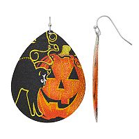 Black Cat & Pumpkin Teardrop Earrings