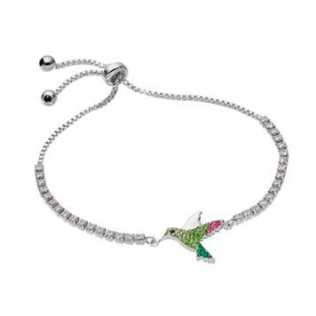 Silver Tone Cubic Zirconia & Crystal Hummingbird Bolo Bracelet