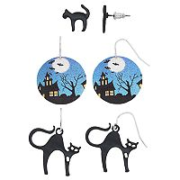Black Cat & Haunted House Earring Set