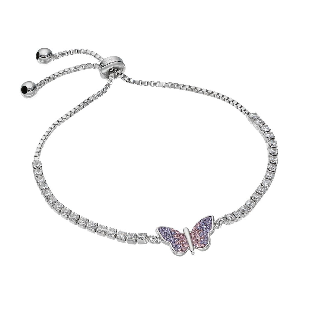 Silver Tone Cubic Zirconia & Crystal Butterfly Bolo Bracelet