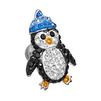 Silver Plated Crystal Penguin Pin