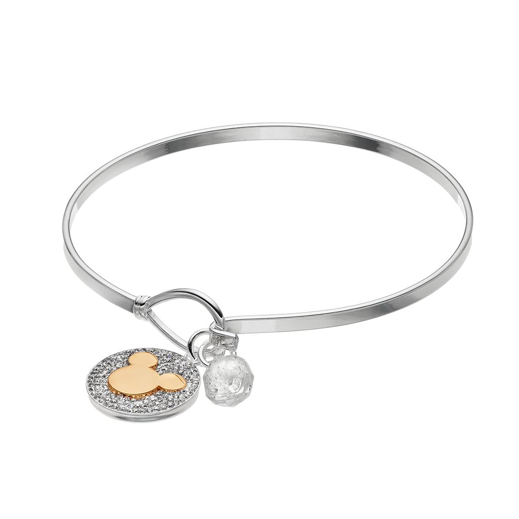 Disney's Mickey Mouse Two Tone Crystal Charm Bangle Bracelet