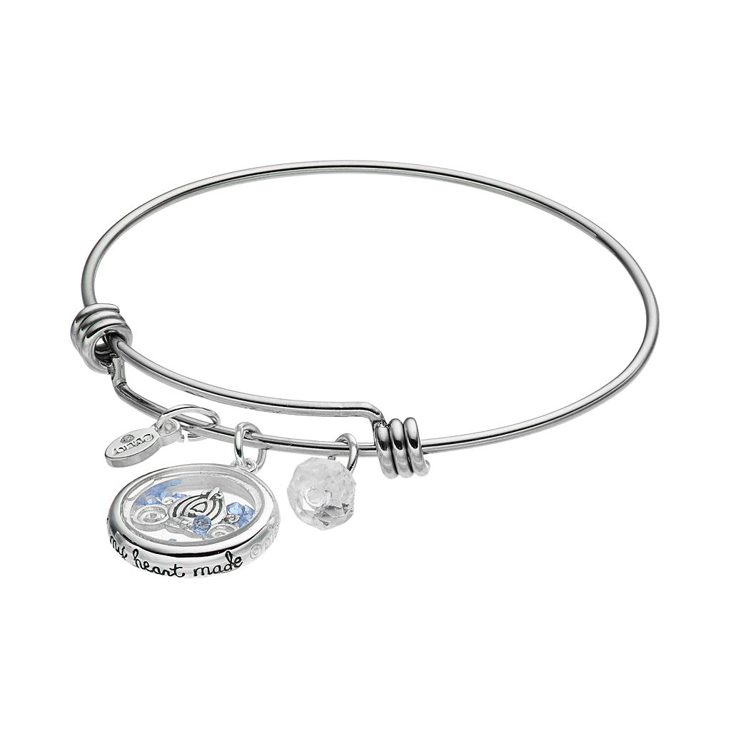 Disney's Cinderella Crystal Floating Charm Bangle Bracelet
