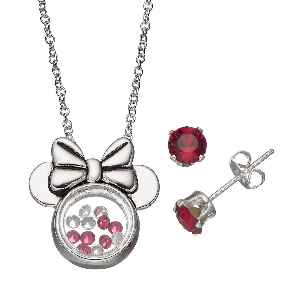 Disney's Minnie Mouse Floating Charm Pendant & Crystal Stud Earring Set