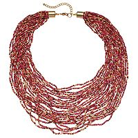 Red Seed Bead Multi Strand Necklace