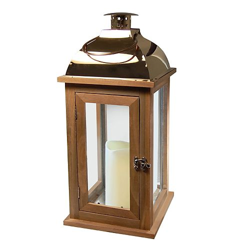 LumaBase Wood & Copper Finish LED Candle Lantern