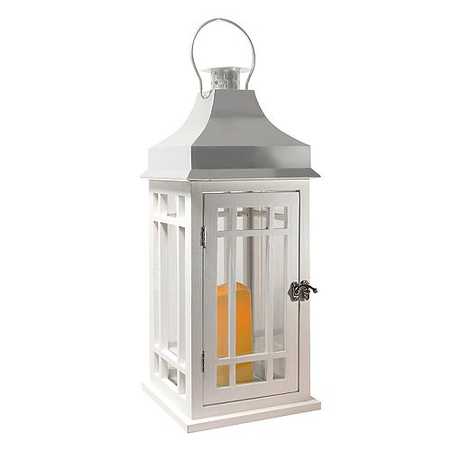 LumaBase White Wood & Chrome Finish LED Candle Lantern
