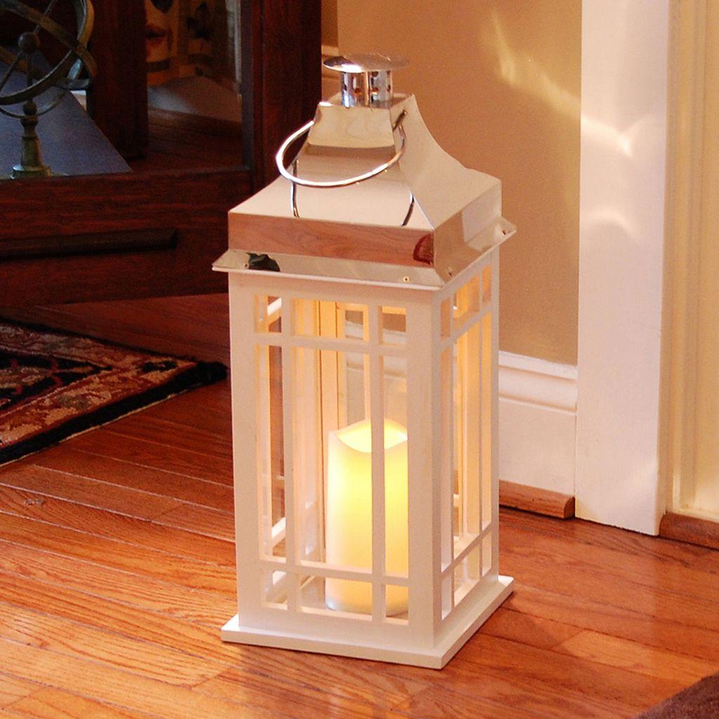 LumaBase White Wood & Chrome Finish LED Candle Lantern