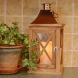 LumaBase Natural Wood & Copper Finish LED Candle Lantern