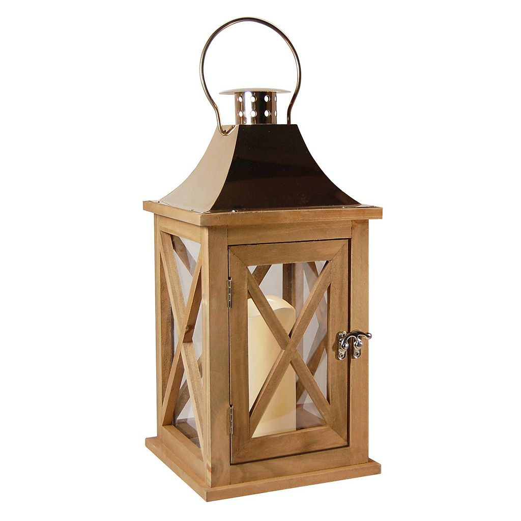 LumaBase Natural Wood & Copper Finish LED Candle Lantern